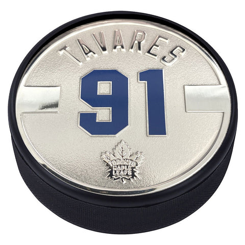Toronto Maple Leafs Silver Plated Medallion Puck – John Tavares