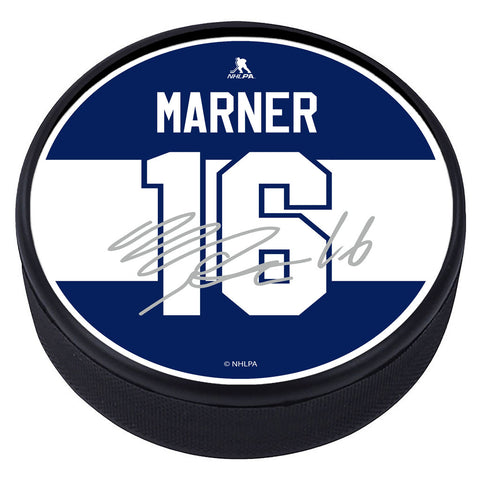 Toronto Maple Leafs Player Textured Puck with Replica Signature - M. Marner