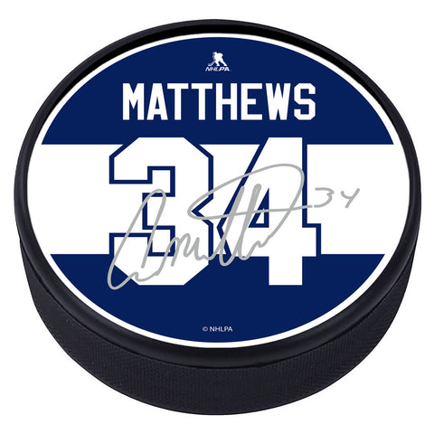 Toronto Maple Leafs Player Textured Puck with Replica Signature - A. Matthews