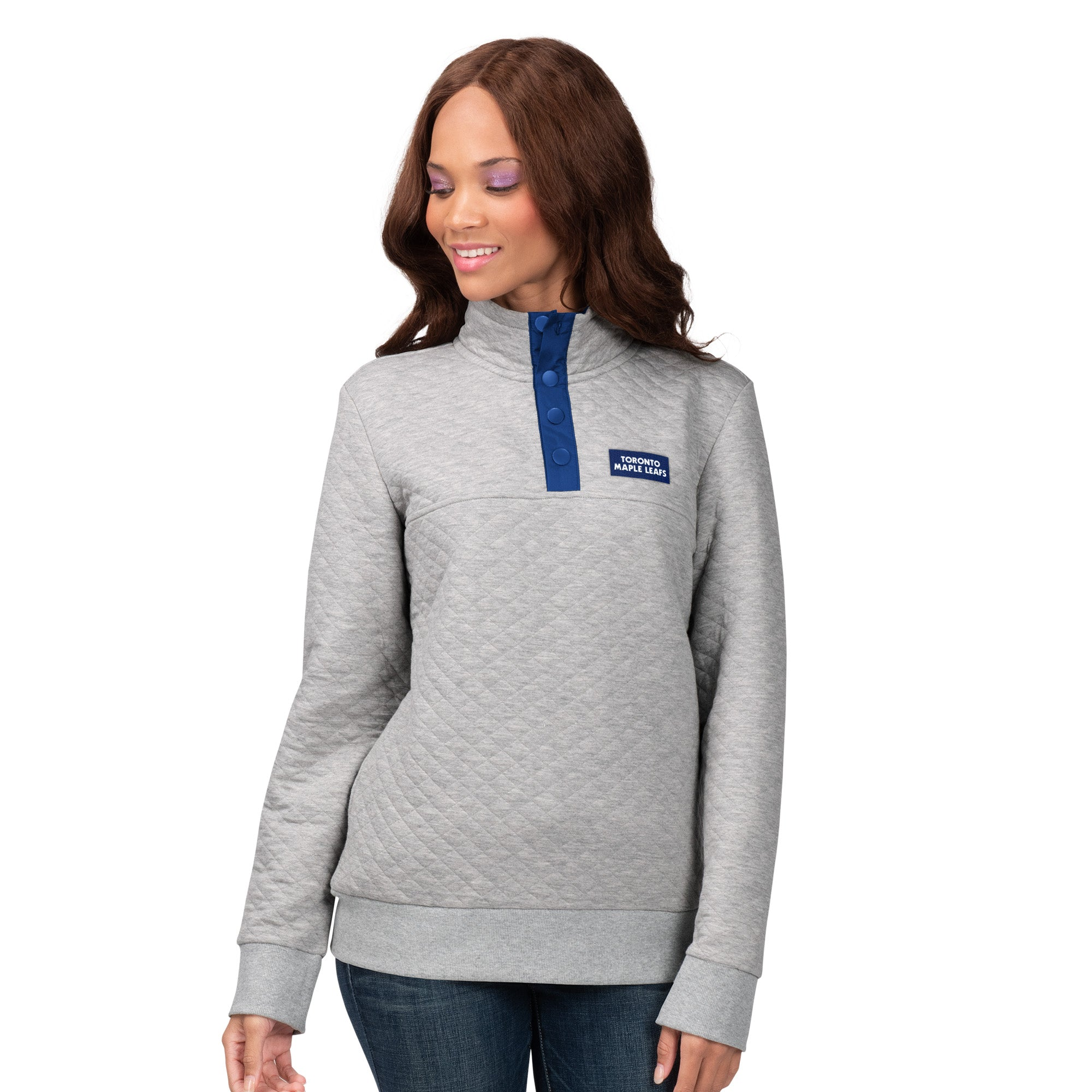 Maple Leafs GIII Ladies Quilted 1/4 Zip Sweater