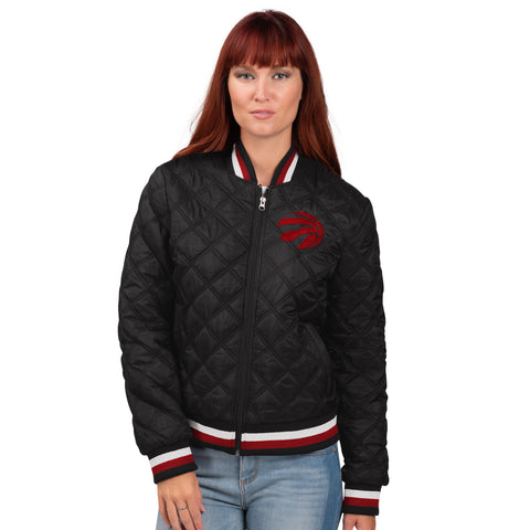 Raptors GIII Ladies Goal Line Quilted Bomber Jacket
