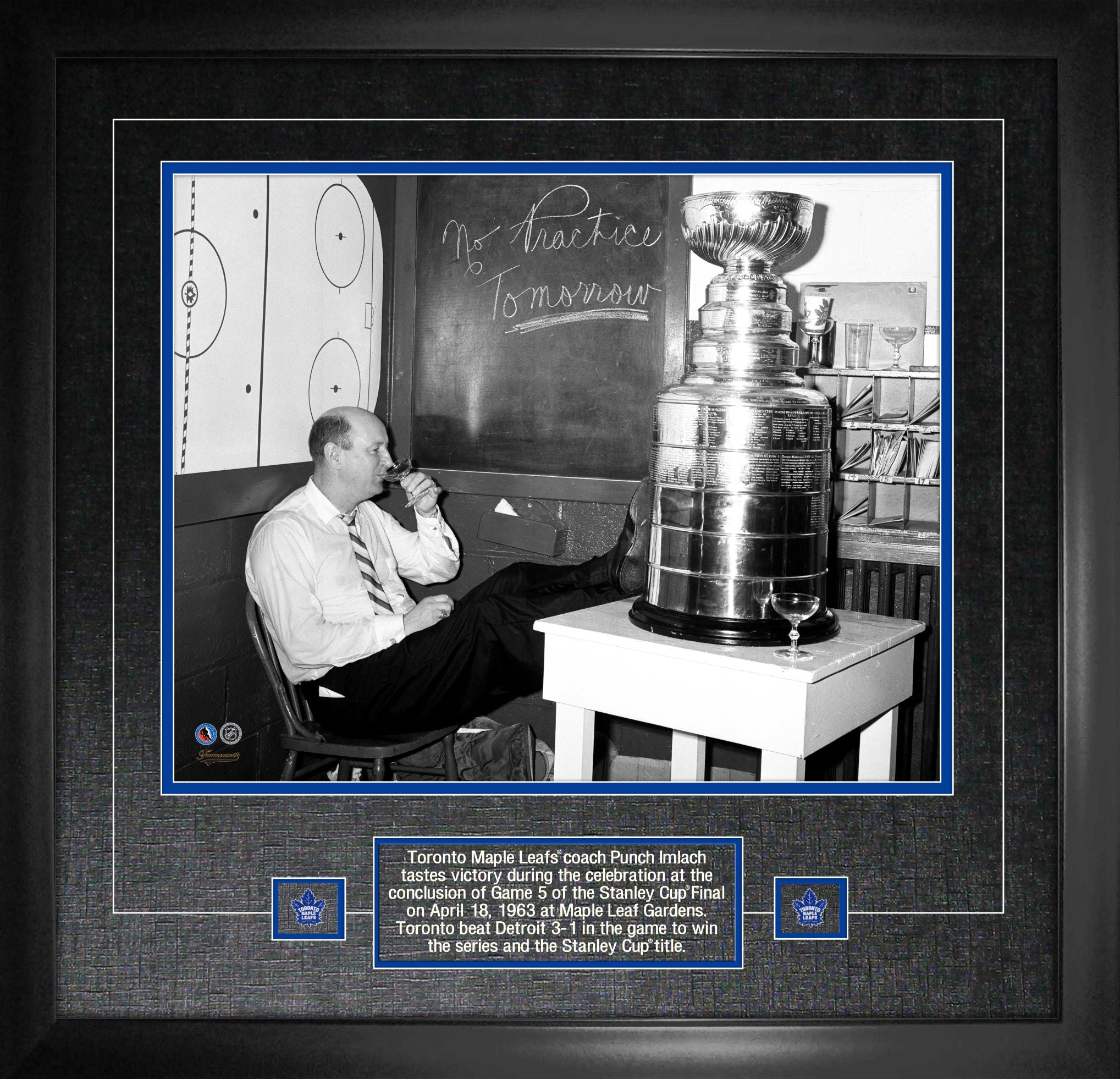 "Toronto Maple Leafs GM Punch Imach ""No Practice Tomorrow"" 16""x 20"" Photo Framed"