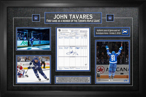 "Tavares Signed ""1st Goal as a Maple Leaf"" with Scoresheet and Photo Collage Framed"