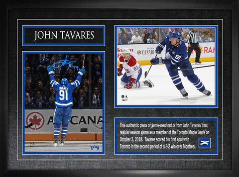 "Tavares Signed Maple Leafs ""1st Goal as a Maple Leaf"" Duo Photos Framed"