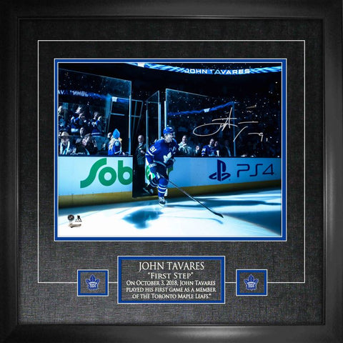 "Tavares Signed '1st Step onto Ice as a Maple Leaf'  11""x14 Photo Framed"