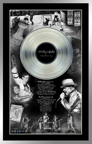 The Tragically Hip with Replica Record and Bill Barilko '50 Mission Cap' Lyrics Framed