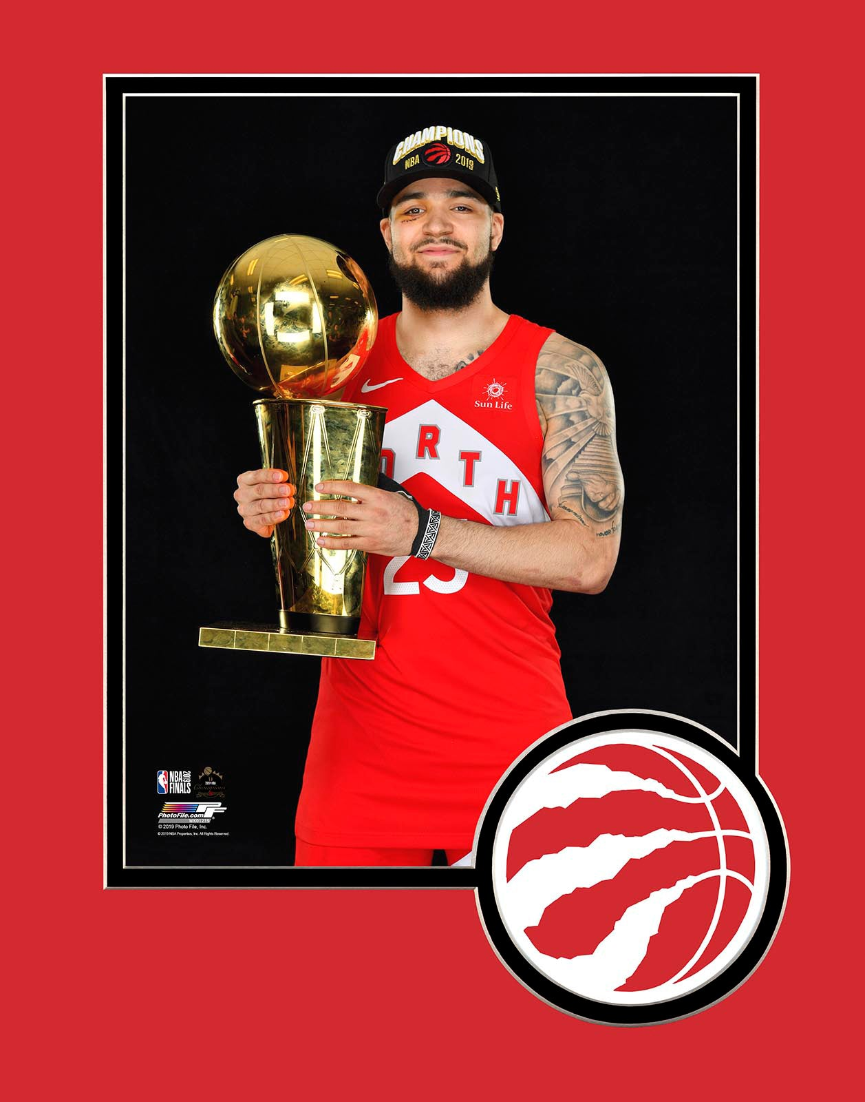 Raptors 2019 NBA Champs Fred VanVleet Trophy Matted 8x10 Photo
