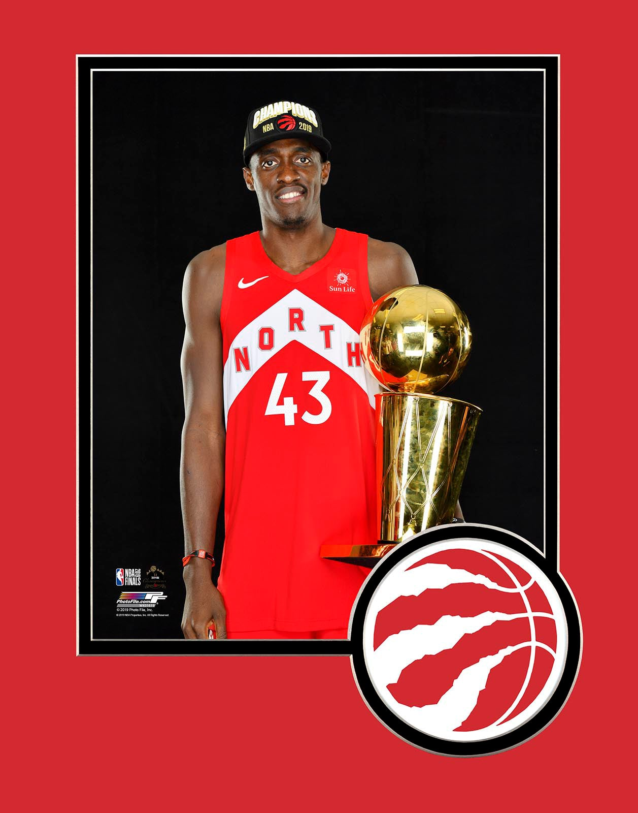 Raptors 2019 NBA Champs Pascal Siakam Trophy Matted 8x10 Photo