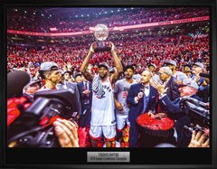 Raptors 2019 Eastern Conference Champions Trophy Celebration Canvas Photo Framed