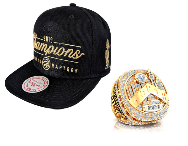 Raptors Mitchell & Ness 2019 NBA Champs Tonal Logo Snapback + Ring Bundle *PRE-ORDER*
