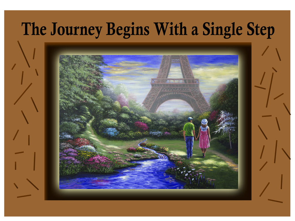 Greeting Card Plaque - The Journey Begins with a Single Step