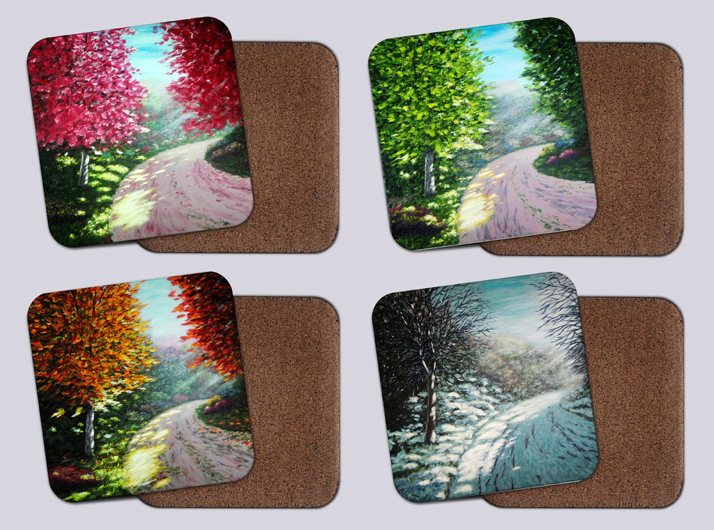 "Coasters with Cork #10 ""Sister of spring, summer,fall,winter"""