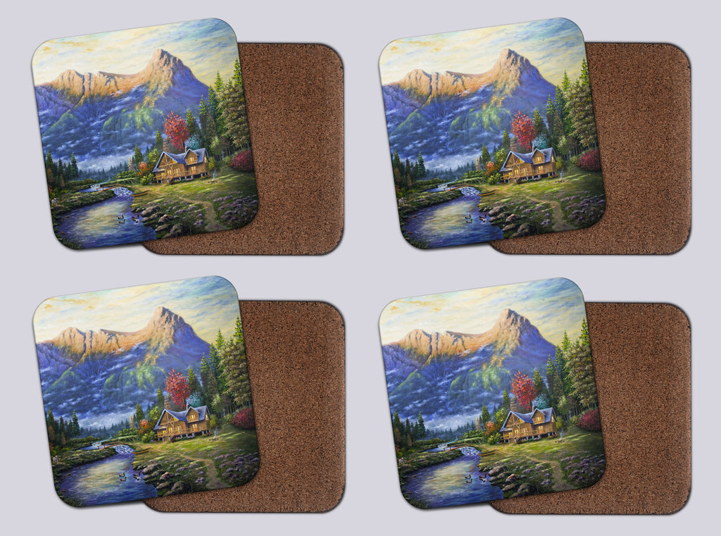 "Coasters with Cork #17 ""Canmore Cottage"""