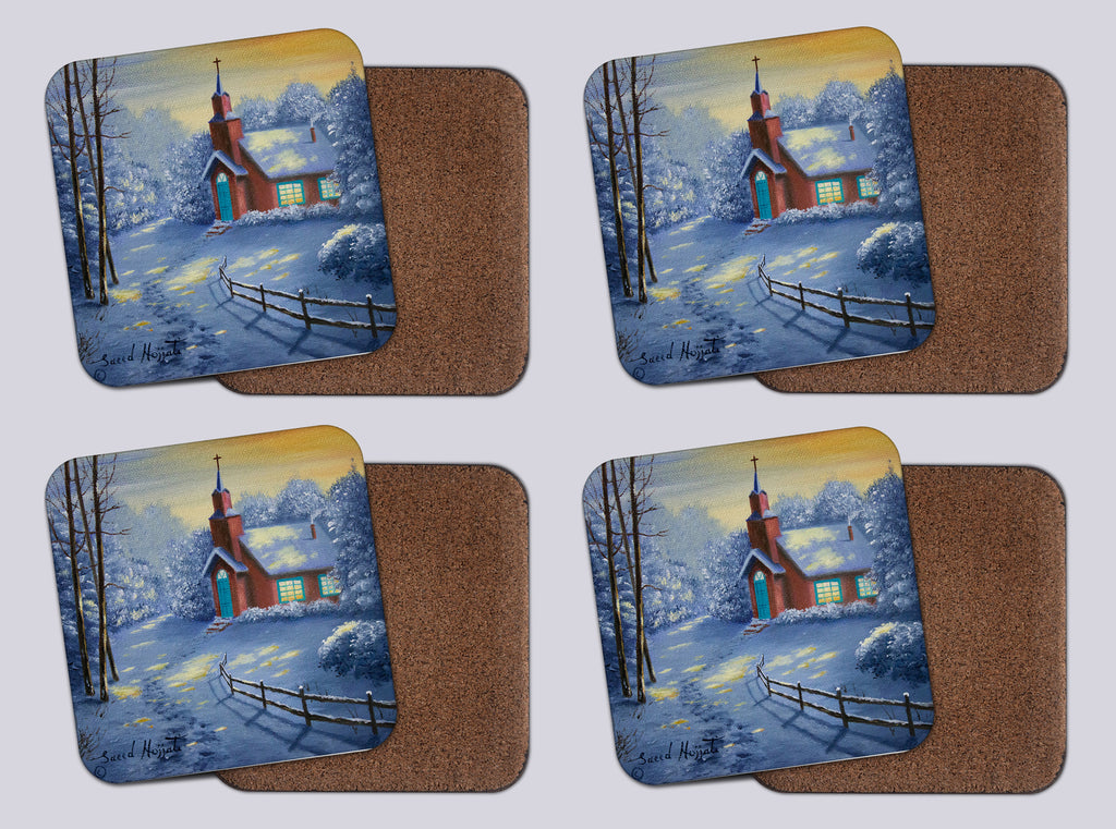 "Coasters with Cork # 1 ""A Country Gathering"""