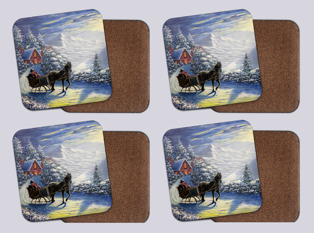 "Coasters with Cork # 3 ""A Carriage Built for Two"""