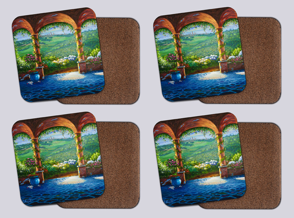"Coasters with Cork # 6 ""Archway to Paradise"""