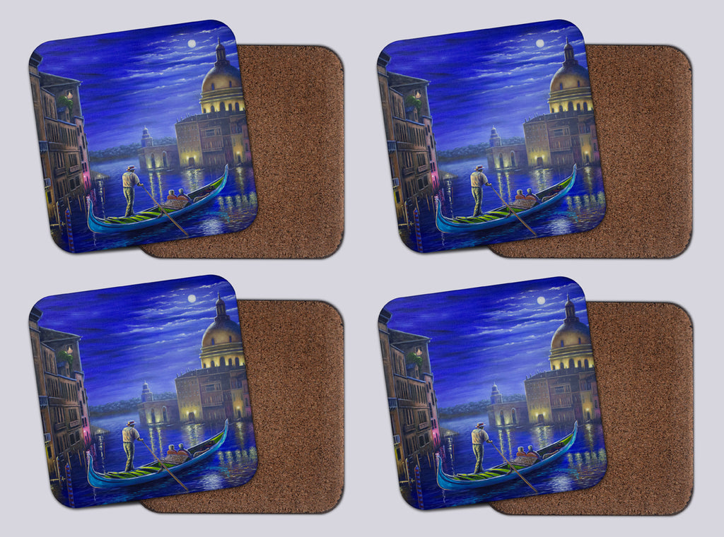 "Coasters with Cork # 8 ""Evening in Venice"""