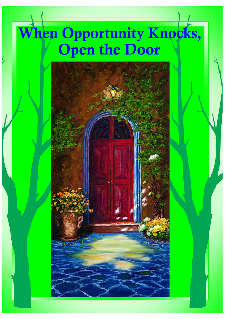 Greeting Card Plaque - Opportunity Knocks, Open the Door