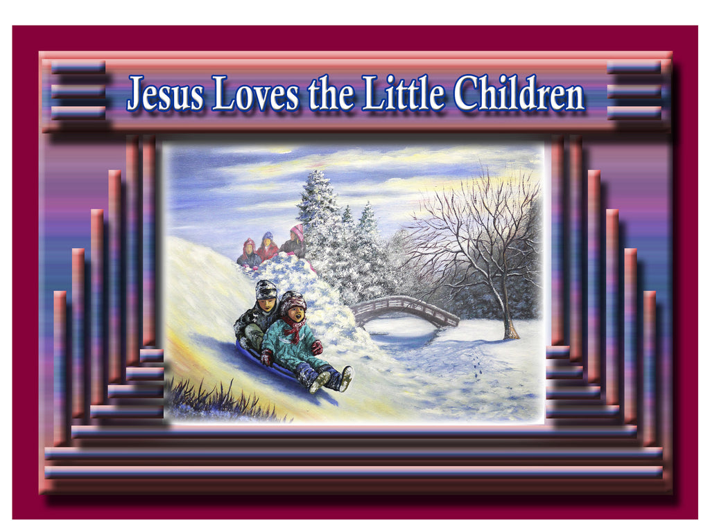 Greeting Card Plaque - Jesus Loves the Little Children