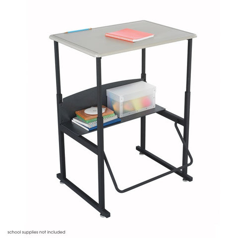 Adjustable-Height Stand-Up Desk, Standard Top and Swinging Footrest Bar 1201BE