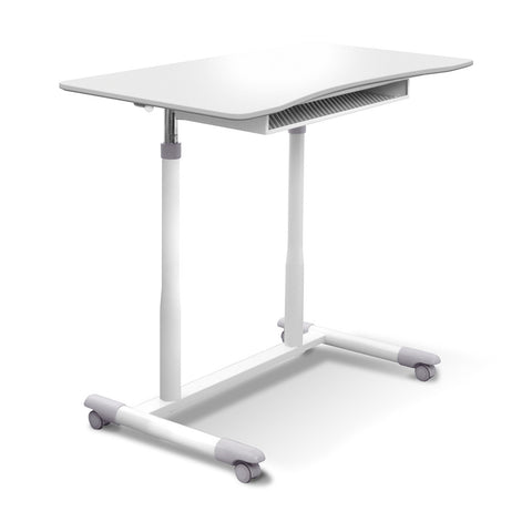 205 - MOBILE STAND UP DESK HEIGHT ADJUSTABLE WITH WHITE TOP