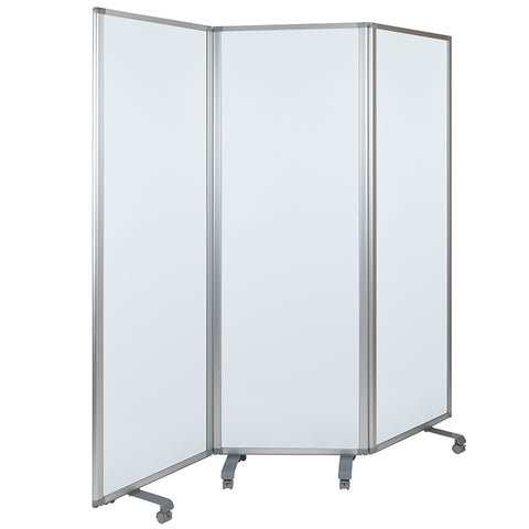 Mobile Magnetic Whiteboard Partition with Lockable Casters
