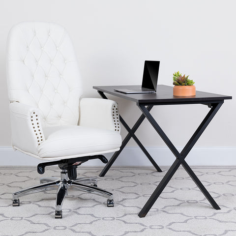 Office Multifunction Executive Swivel Chair Tufted Leather - white- egyr desk