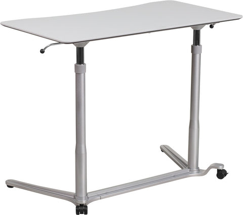 Sit-Down, Stand-Up Light Gray Computer Desk