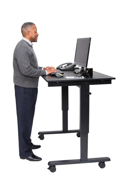 STANDCF48 Crank Adjustable Mobile Stand Up Desk - Egyr DEsk