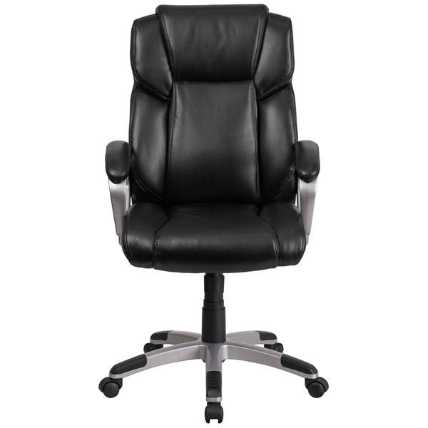 Padded Arms Black Leather Executive Swivel Chair