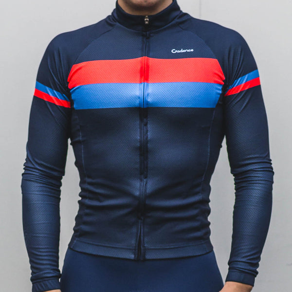 Deuce Long Sleeve Jersey Navy - Size Small - Ride Auburn