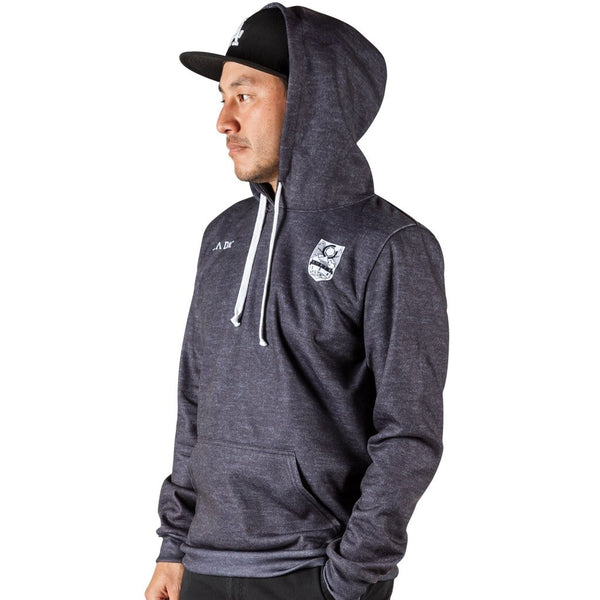 Cadence Eton Pullover Hoodie - heather black. Made in USA