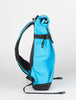 ILE Transit backpack side view - 15 litre cyan; handmade in the USA