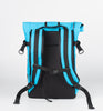 ILE Transit backpack rear view - 15 litre cyan; handmade in the USA