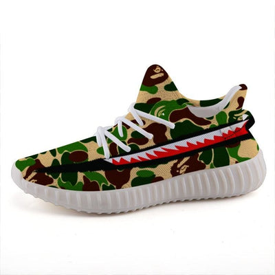 62bf07618  High Quality Custom Art Clothing   Accessories Online  - Hype Mini. Bape  Green Camo Style Shark Teeth Yeezy Stripe 350 V2 Ultra Boost Shoes