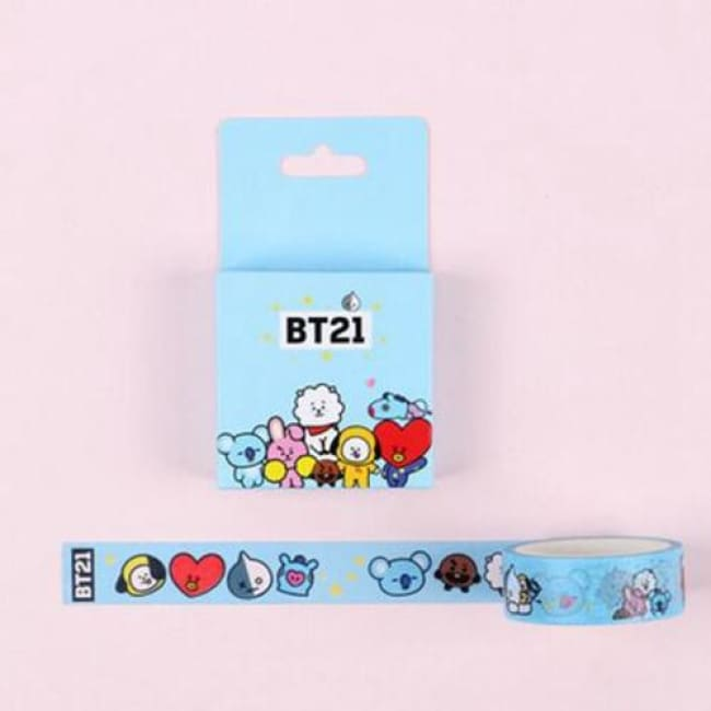 Decorative office supplies Aqua Bts Bt21 Masking Tape Decorative Adhesive Tape Sticker Label Stationery Office Supply Hype Mini Men Women Accessories Jewelry Masks Home Goods Hypemini
