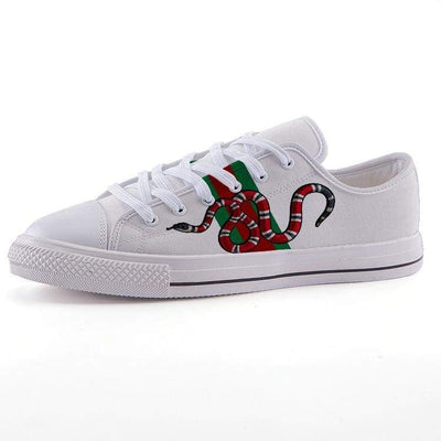 c22a1a741 [High Quality Custom Art Clothing & Accessories Online] - Hype Mini.  Giancarlo Gucci Gang Converse Style Red Coral Snake Low Top Canvas Shoes