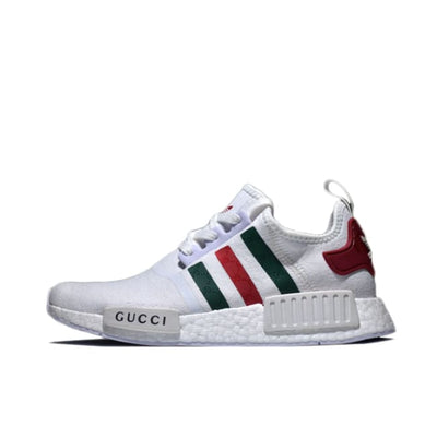 33a350928  High Quality Custom Art Clothing   Accessories Online  - Hype Mini. Gucci  Adidas NMD White Runner R1 Prime Knit Shoes