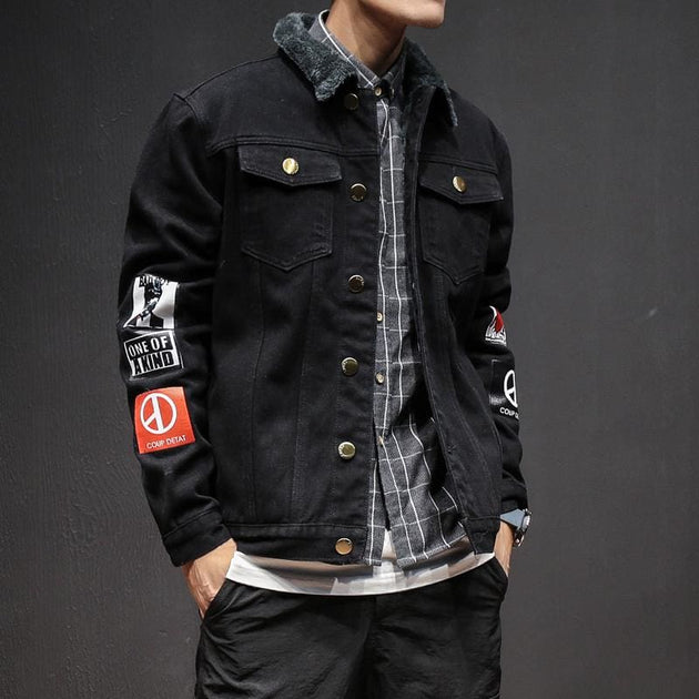 One of a Kind G-Dragon Wool Collared Jean Button Denim Jacket