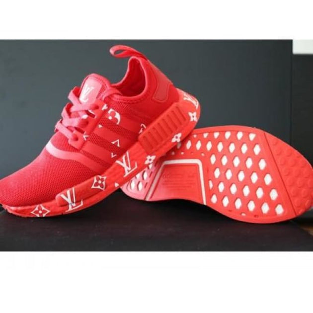 b1dd00b365acc Supreme Louis Vuitton Red Monogram Adidas NMD R1 Primeknit Shoes – Hypemini
