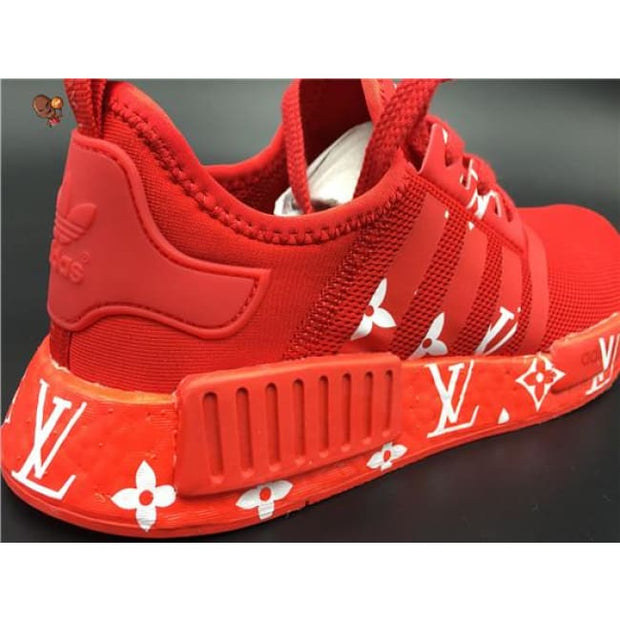 6ce5a87c8a77a Supreme Louis Vuitton Red Monogram Adidas NMD R1 Primeknit Shoes ...