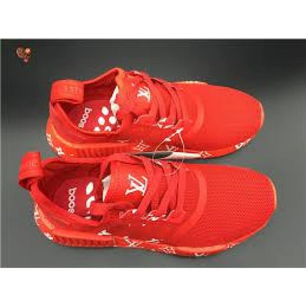 e82ad82c59e Supreme Louis Vuitton Red Monogram Adidas NMD R1 Primeknit Shoes ...