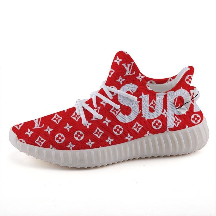 Supreme X Louis Vuitton Inspired Custom Red Yeezy 350 V2 Ultraboost Shoes
