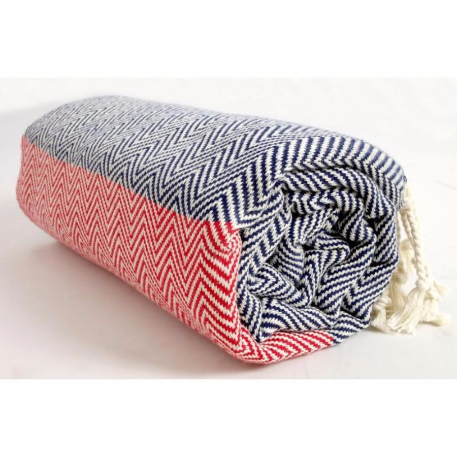 Organic Cotton - Handwoven Turkish Towel - Zig Zag Pattern - Blue & Red