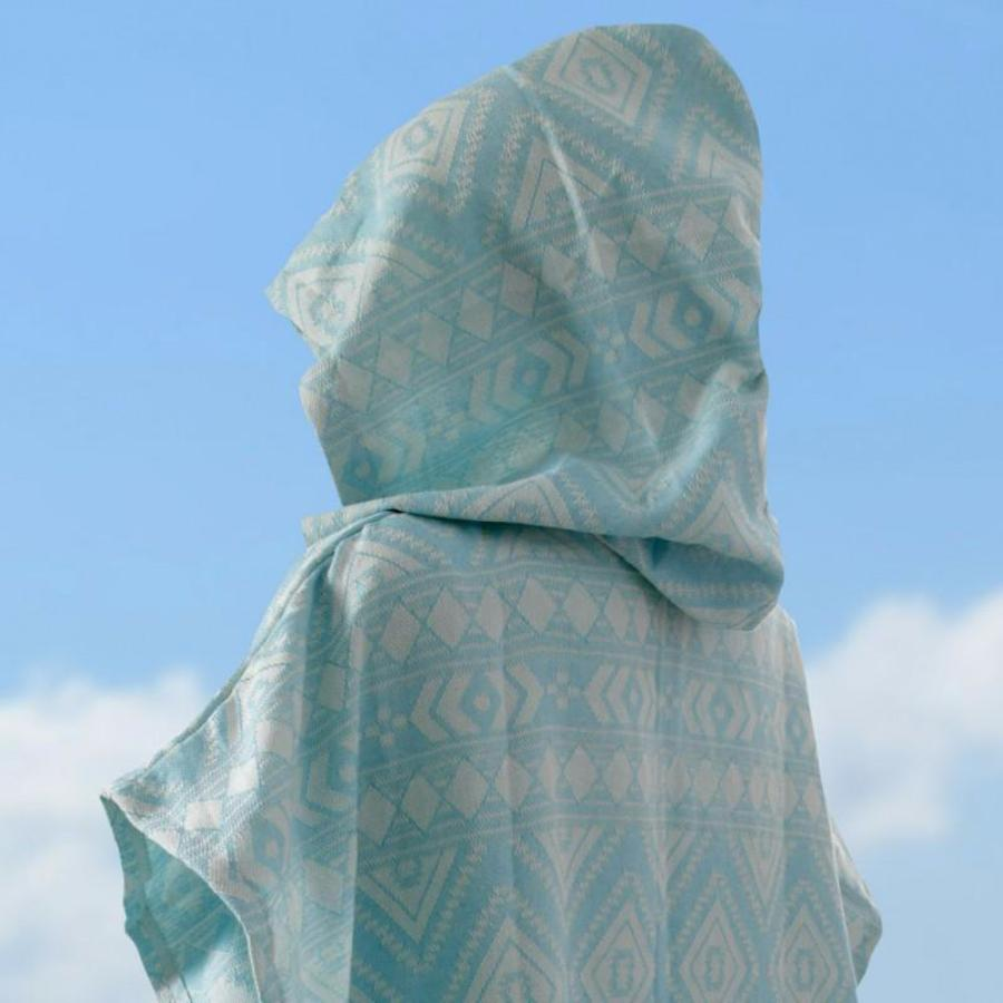 Organic Cotton Turkish Surfer Hooded Poncho - Native Pattern