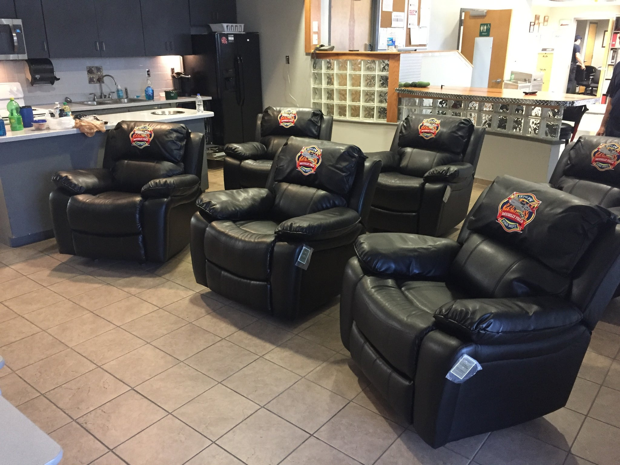 New Custom Embroidered Fire Station Recliners - 187th FW Fire Dept., AL