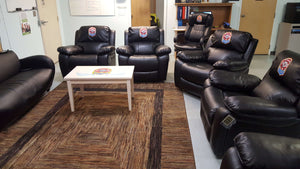 Custom embroidered recliners and office chairs for Española DPS Fire/Rescue Department