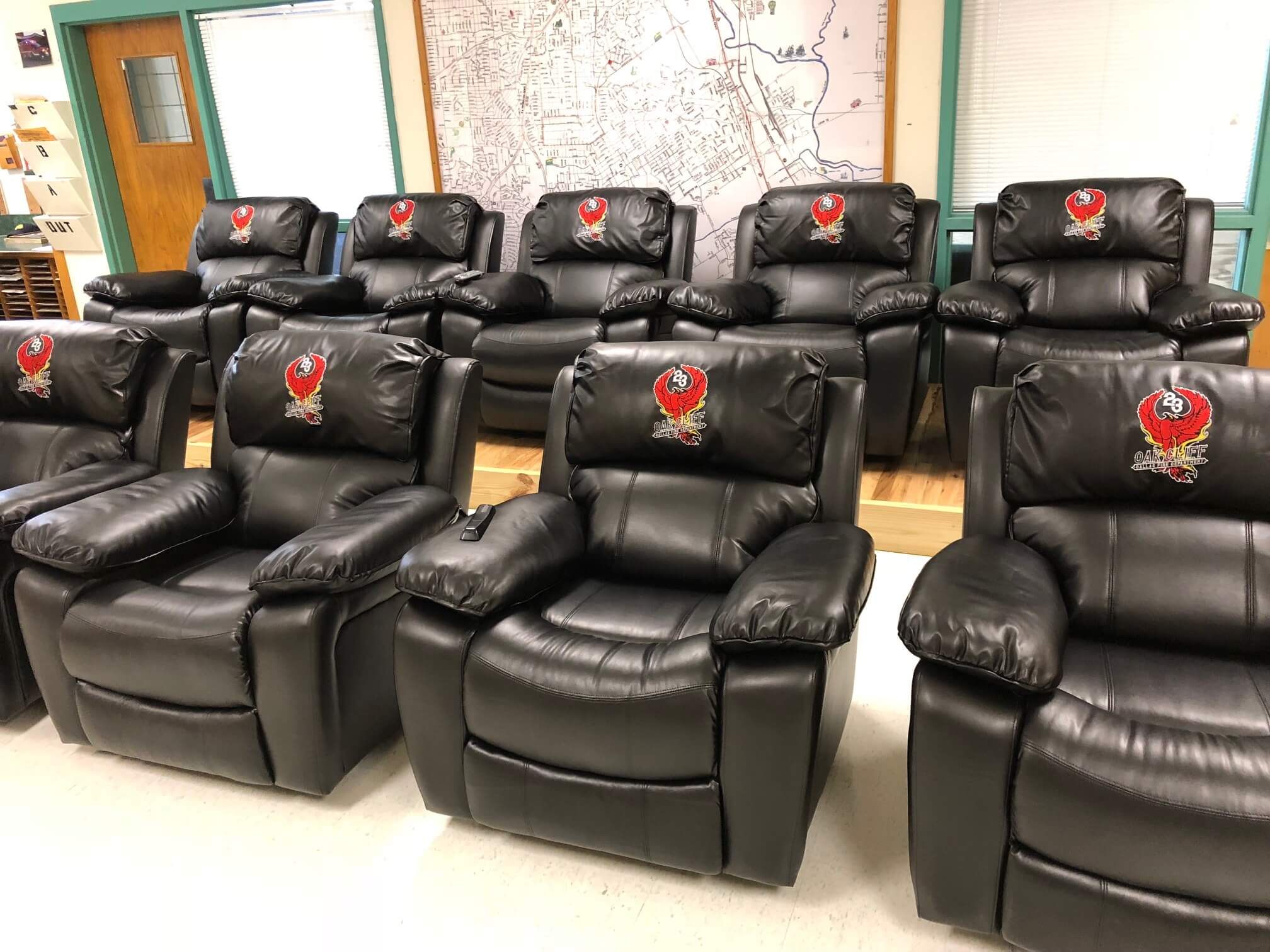 Custom embroidered recliners & chairs for Dallas Fire Station 23
