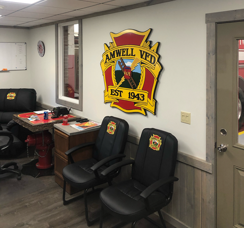 fire station custom logo chairs and wall shield