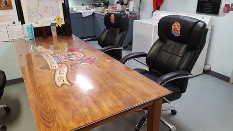embroidered firehouse chairs